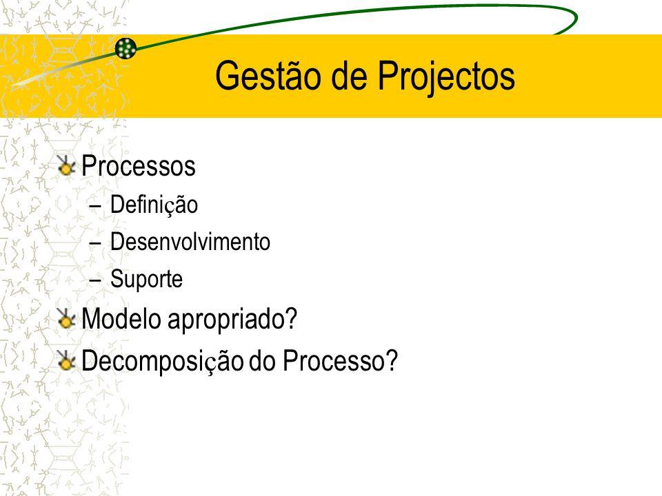 Processos –Defini ç ão –Desenvolvimento –Suporte Modelo apropriado.