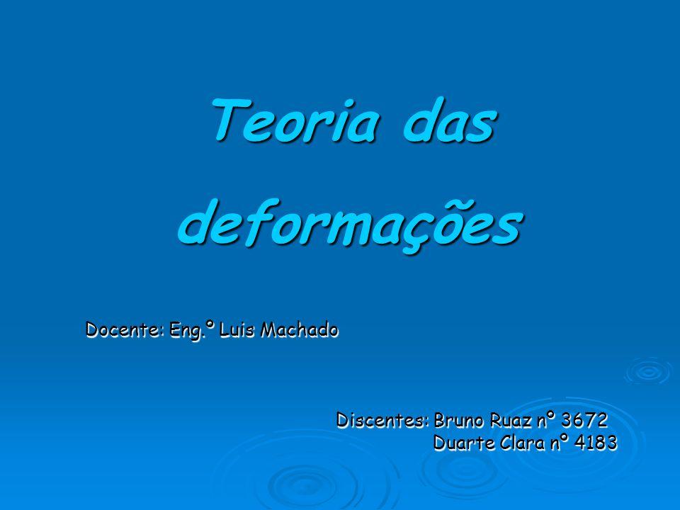 Teoria das deformações Docente: Eng.º Luis Machado Discentes: Bruno Ruaz nº 3672 Discentes: Bruno Ruaz nº 3672 Duarte Clara nº 4183