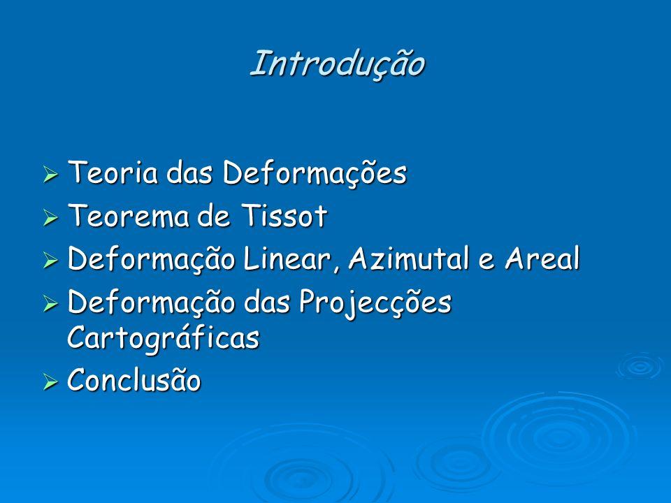 Introdução Teoria das Deformações Teoria das Deformações Teorema de Tissot Teorema de Tissot Deformação Linear, Azimutal e Areal Deformação Linear, Az