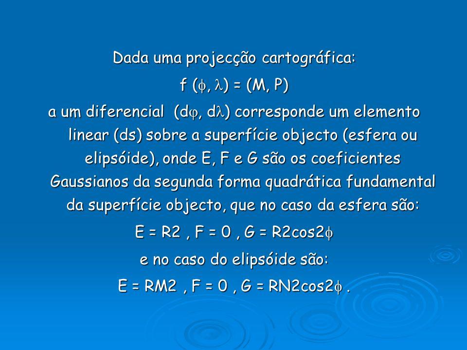 Dada uma projecção cartográfica: f (, ) = (M, P) a um diferencial (d, d ) corresponde um elemento linear (ds) sobre a superfície objecto (esfera ou el