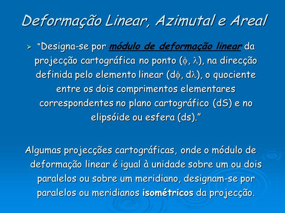 Deformação Linear, Azimutal e Areal Designa-se por da projecção cartográfica no ponto (, ), na direcção definida pelo elemento linear (d, d ), o quoci