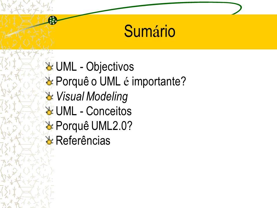 Unified Modeling Language é uma linguagem gr á fica para: –especificar –visualizar –construir –documentar todos os artefactos do sistema de software O UML re ú ne as caracterist í cas de: –Conceitos de Data Modeling (Entity Relationship Diagrams) – Business Modeling (work flow ) – Object Modeling – Component Modeling Pode ser utilizado em todo o processo de engenharia de software, independentemente da tecnologia de implementa ç ão Adoptado pela OMG em Novembro 1997 como UML 1.1 UML - Objectivos