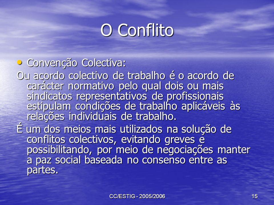 CC/ESTIG - 2005/200615 O Conflito Convenção Colectiva: Convenção Colectiva: Ou acordo colectivo de trabalho é o acordo de carácter normativo pelo qual