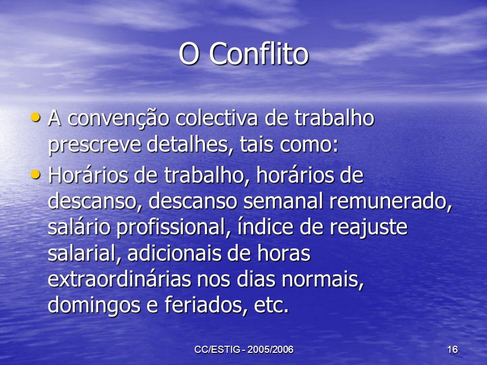 CC/ESTIG - 2005/200616 O Conflito A convenção colectiva de trabalho prescreve detalhes, tais como: A convenção colectiva de trabalho prescreve detalhe