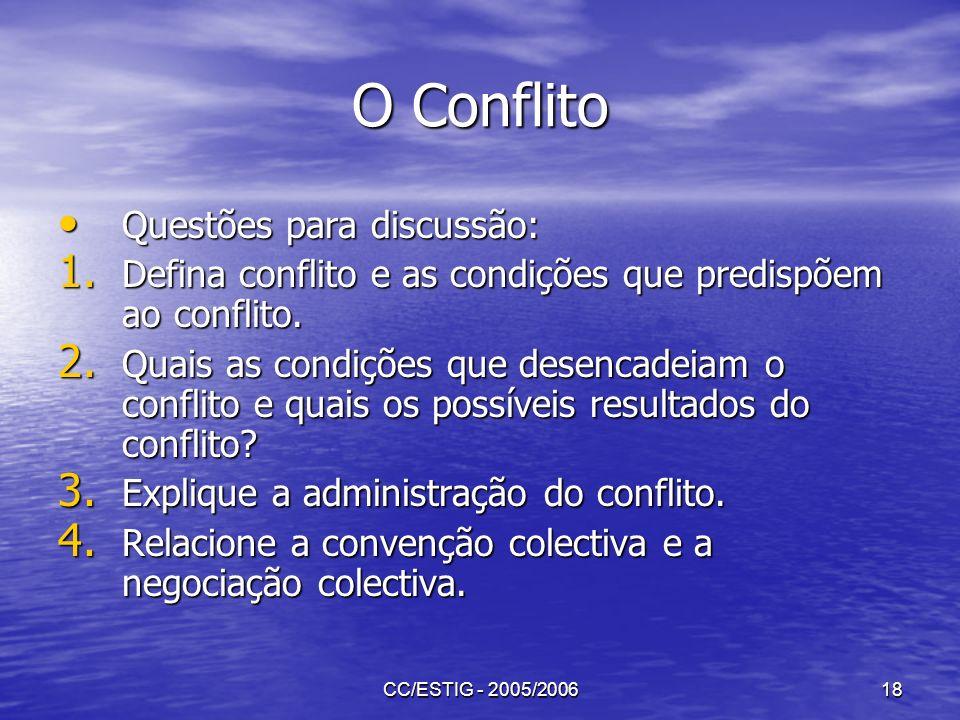 CC/ESTIG - 2005/200618 O Conflito Questões para discussão: Questões para discussão: 1. Defina conflito e as condições que predispõem ao conflito. 2. Q