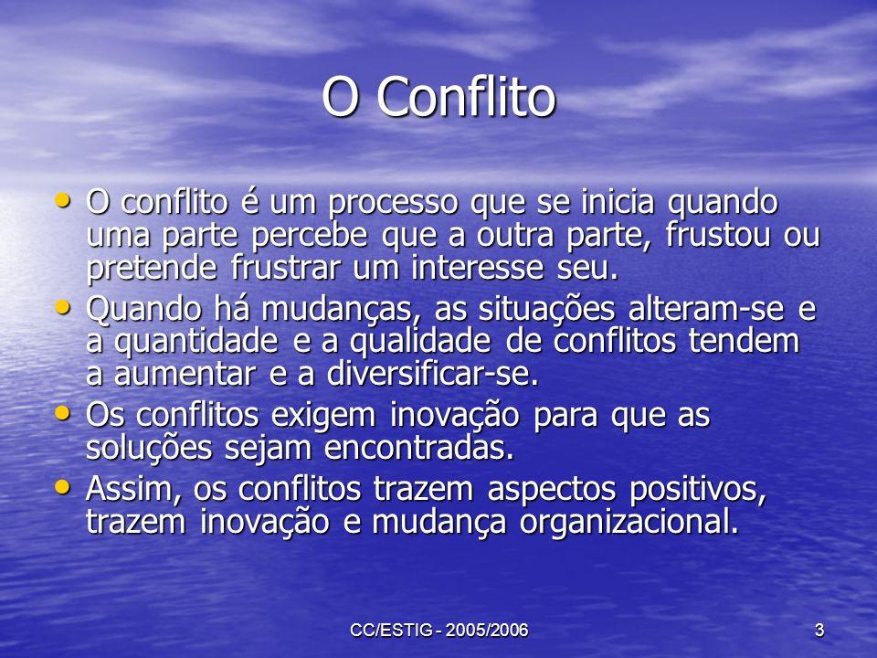 CC/ESTIG - 2005/20063 O Conflito O conflito é um processo que se inicia quando uma parte percebe que a outra parte, frustou ou pretende frustrar um in