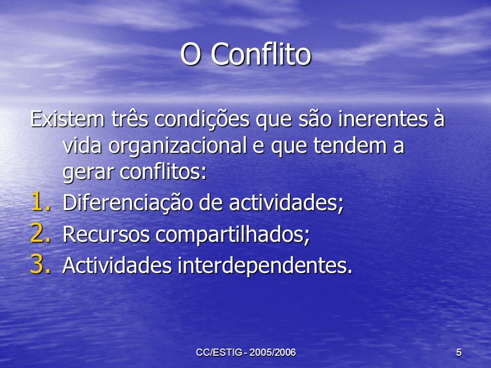 CC/ESTIG - 2005/20065 O Conflito Existem três condições que são inerentes à vida organizacional e que tendem a gerar conflitos: 1. Diferenciação de ac