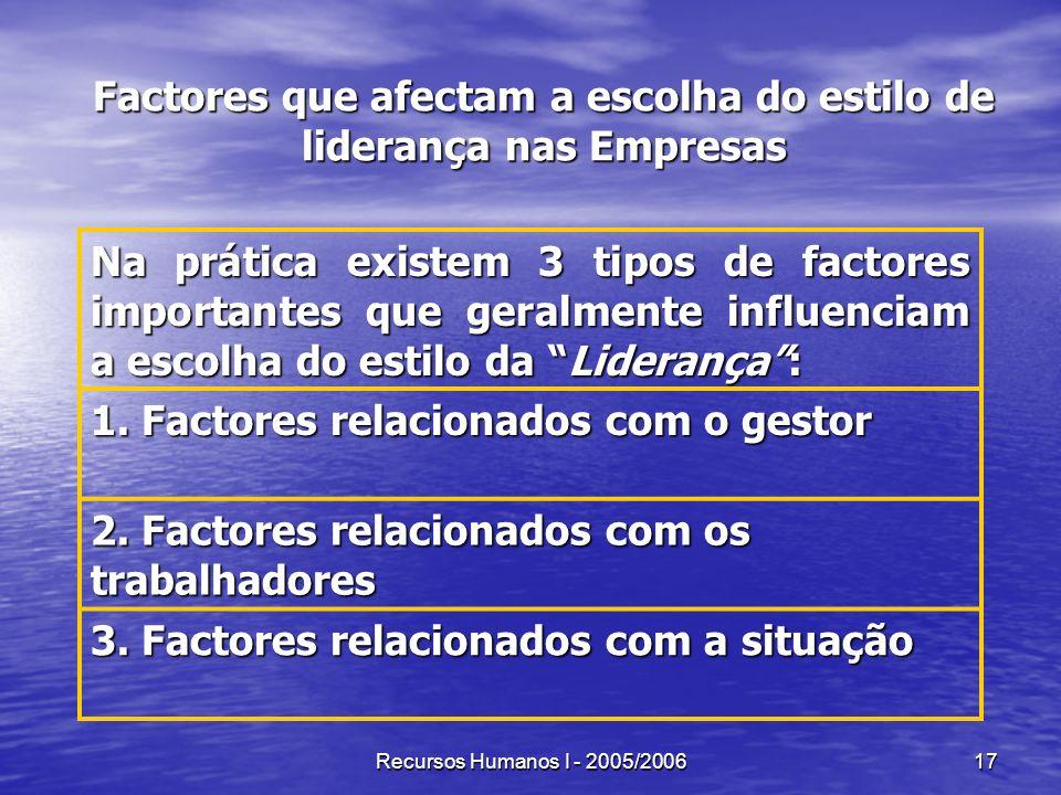 Recursos Humanos I - 2005/200617 Factores que afectam a escolha do estilo de liderança nas Empresas Na prática existem 3 tipos de factores importantes