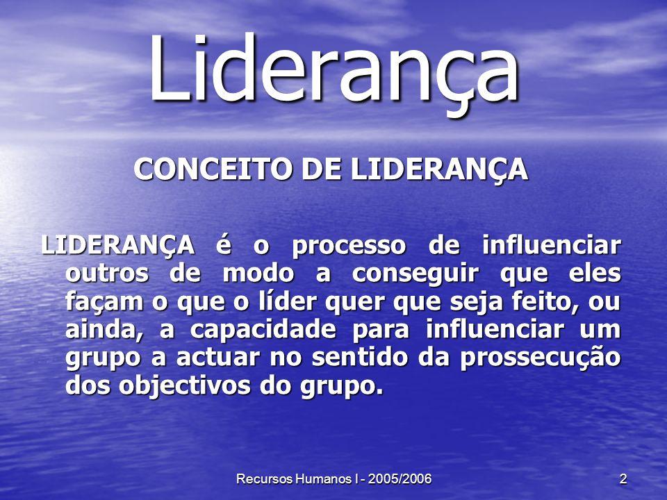Recursos Humanos I - 2005/20062 Liderança CONCEITO DE LIDERANÇA LIDERANÇA é o processo de influenciar outros de modo a conseguir que eles façam o que