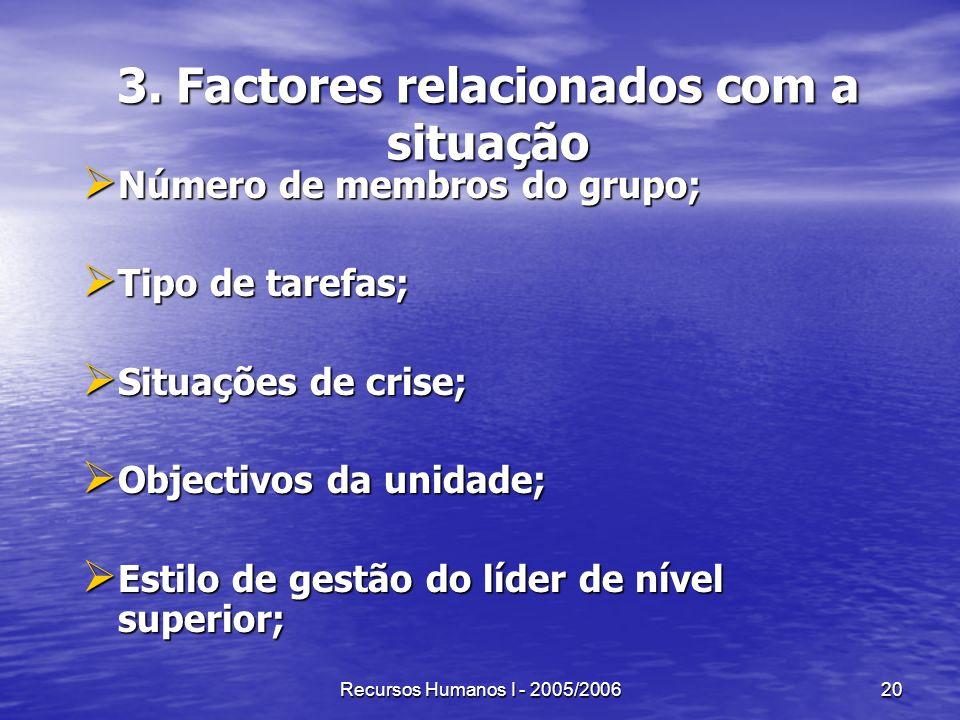 Recursos Humanos I - 2005/200620 3. Factores relacionados com a situação Número de membros do grupo; Número de membros do grupo; Tipo de tarefas; Tipo