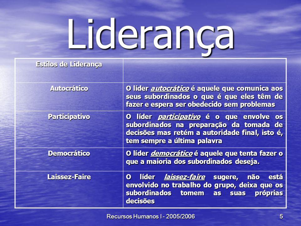 Recursos Humanos I - 2005/20066 Tipos de Abordagem da Liderança 1.