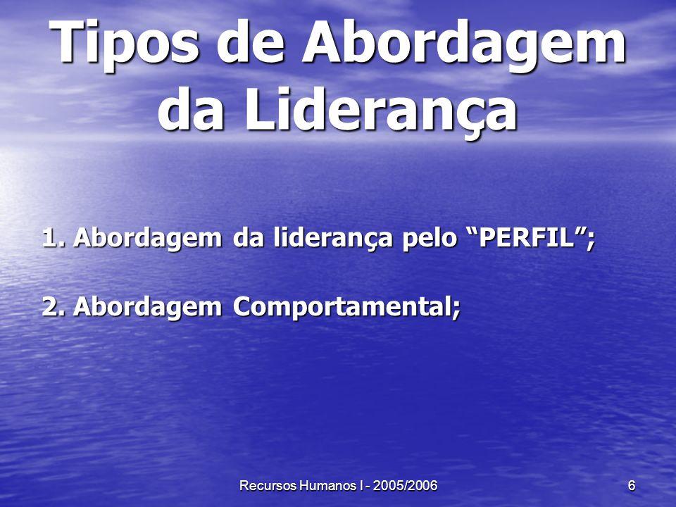 Recursos Humanos I - 2005/20066 Tipos de Abordagem da Liderança 1. Abordagem da liderança pelo PERFIL; 2. Abordagem Comportamental;