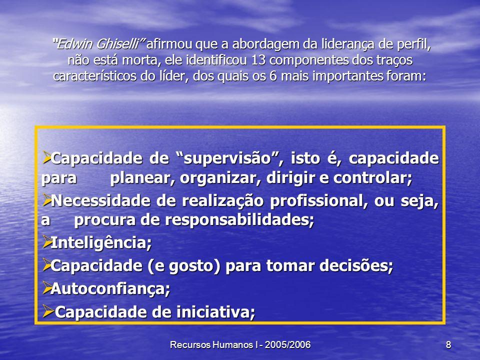 Recursos Humanos I - 2005/20068 Edwin Ghiselli afirmou que a abordagem da liderança de perfil, não está morta, ele identificou 13 componentes dos traç