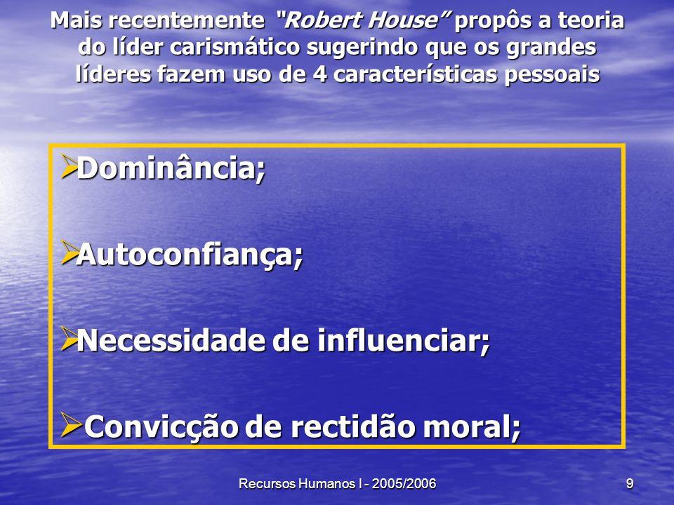 Recursos Humanos I - 2005/20069 Mais recentemente Robert House propôs a teoria do líder carismático sugerindo que os grandes líderes fazem uso de 4 ca