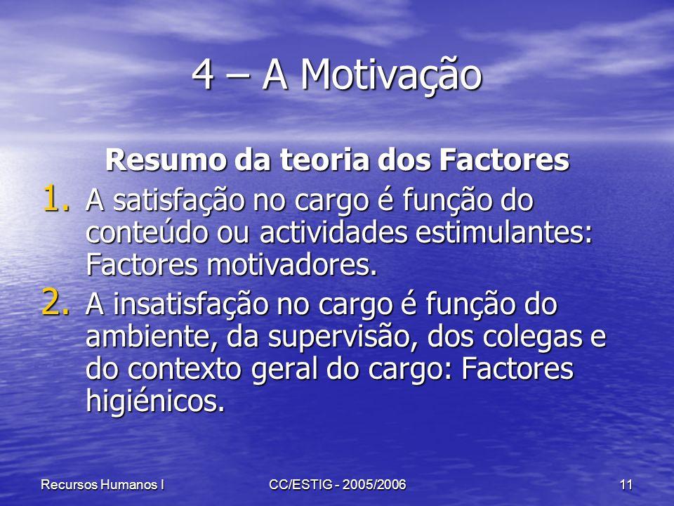 Recursos Humanos ICC/ESTIG - 2005/200611 4 – A Motivação Resumo da teoria dos Factores 1. A satisfação no cargo é função do conteúdo ou actividades es
