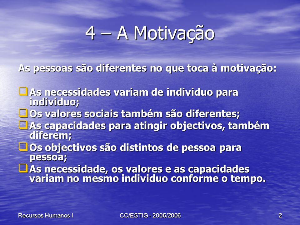 Recursos Humanos ICC/ESTIG - 2005/20063 4 – A Motivação Apesar de todas as diferenças apontadas, o processo que dinamiza o comportamento é mais ou menos semelhante para todas as pessoas.