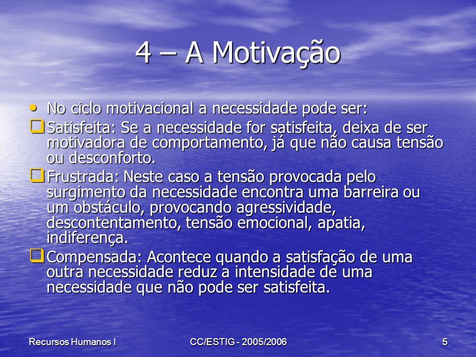 Recursos Humanos ICC/ESTIG - 2005/20066 4 – A Motivação A Hierarquia das necessidades segundo Maslow Esta teoria baseia-se na hierarquia das necessidades.