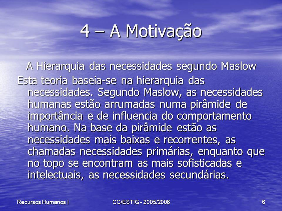 Recursos Humanos ICC/ESTIG - 2005/20066 4 – A Motivação A Hierarquia das necessidades segundo Maslow Esta teoria baseia-se na hierarquia das necessida
