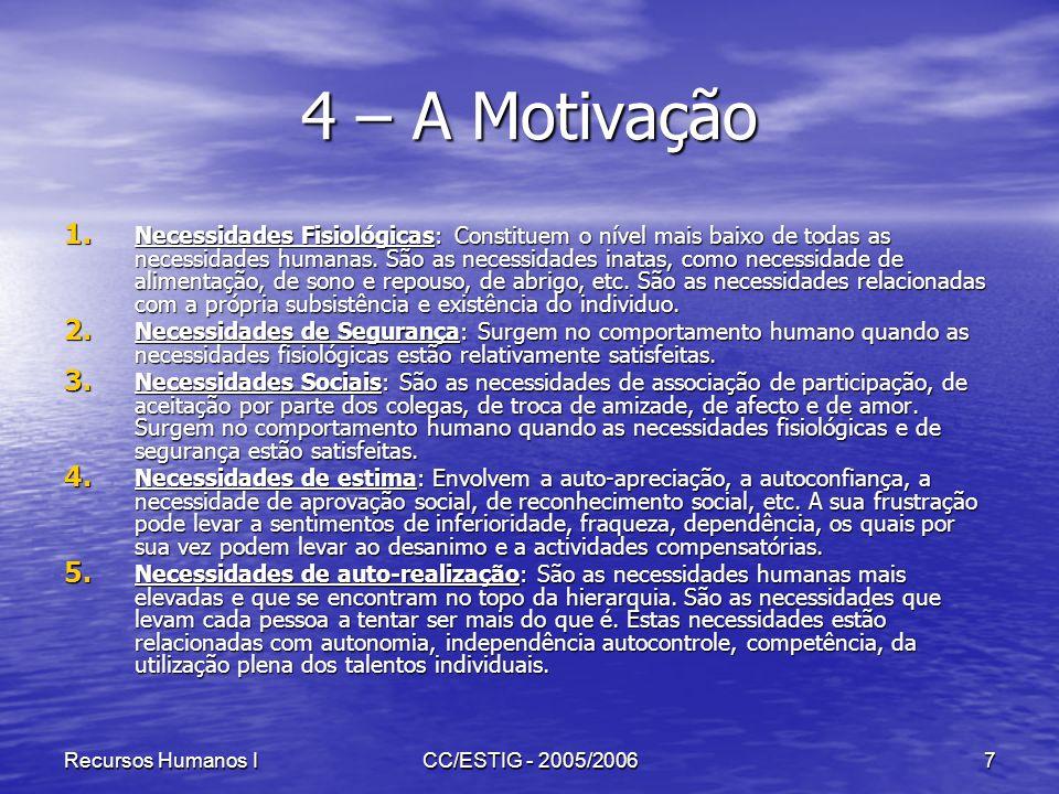 Recursos Humanos ICC/ESTIG - 2005/20067 4 – A Motivação 1. Necessidades Fisiológicas: Constituem o nível mais baixo de todas as necessidades humanas.