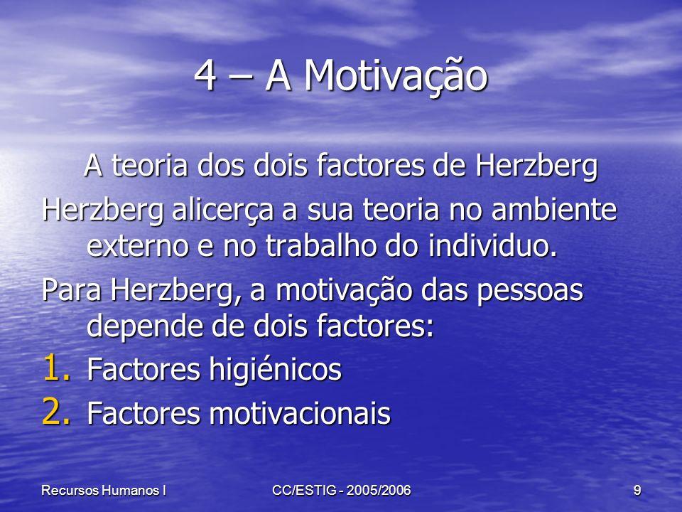 Recursos Humanos ICC/ESTIG - 2005/20069 4 – A Motivação A teoria dos dois factores de Herzberg Herzberg alicerça a sua teoria no ambiente externo e no