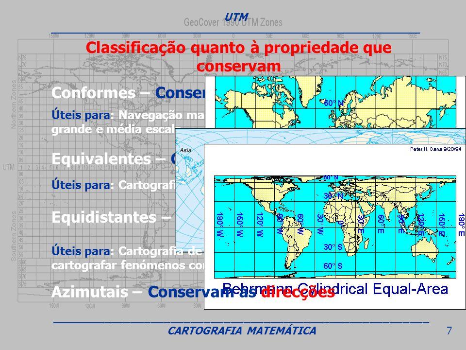 Conformes – Conservam os ângulos Equivalentes – Conservam as áreas Equidistantes – Conservam as distâncias Úteis para: Navegação marítima e aérea e pa