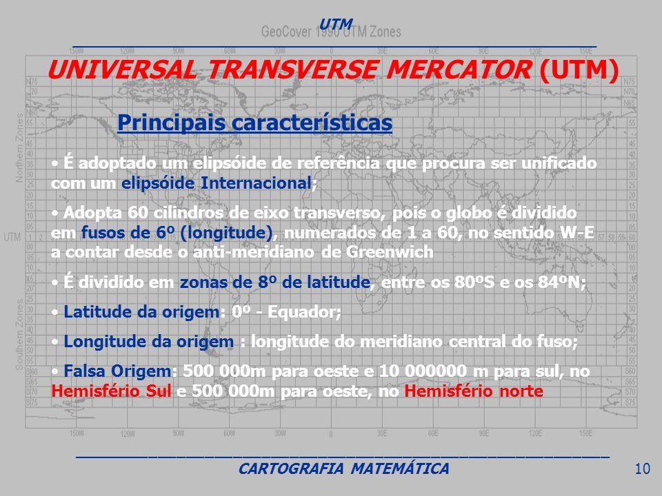 UNIVERSAL TRANSVERSE MERCATOR (UTM) Principais características É adoptado um elipsóide de referência que procura ser unificado com um elipsóide Intern