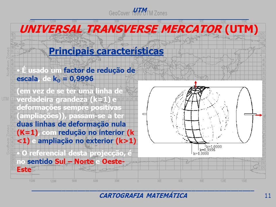 UNIVERSAL TRANSVERSE MERCATOR (UTM) Principais características É usado um factor de redução de escala, de k 0 = 0,9996 (em vez de se ter uma linha de