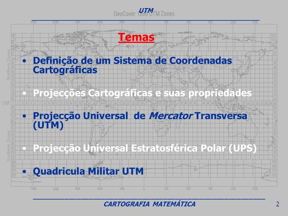 Temas Definição de um Sistema de Coordenadas Cartográficas Projecções Cartográficas e suas propriedades Projecção Universal de Mercator Transversa (UT