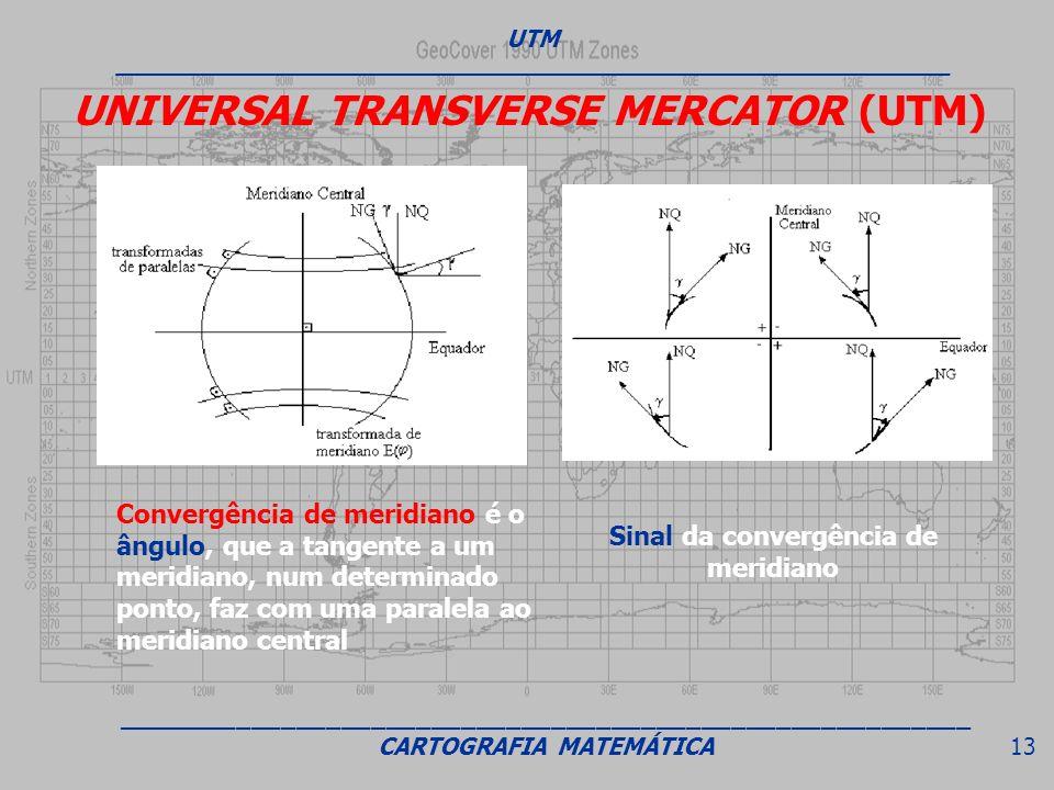 UNIVERSAL TRANSVERSE MERCATOR (UTM) Convergência de meridiano é o ângulo, que a tangente a um meridiano, num determinado ponto, faz com uma paralela a
