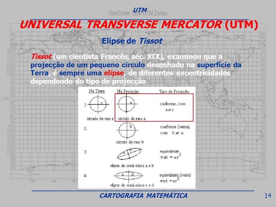 Tissot (um cientista Francês, séc. XIX), examinou que a projecção de um pequeno circulo desenhado na superfície da Terra, é sempre uma elipse, de dife