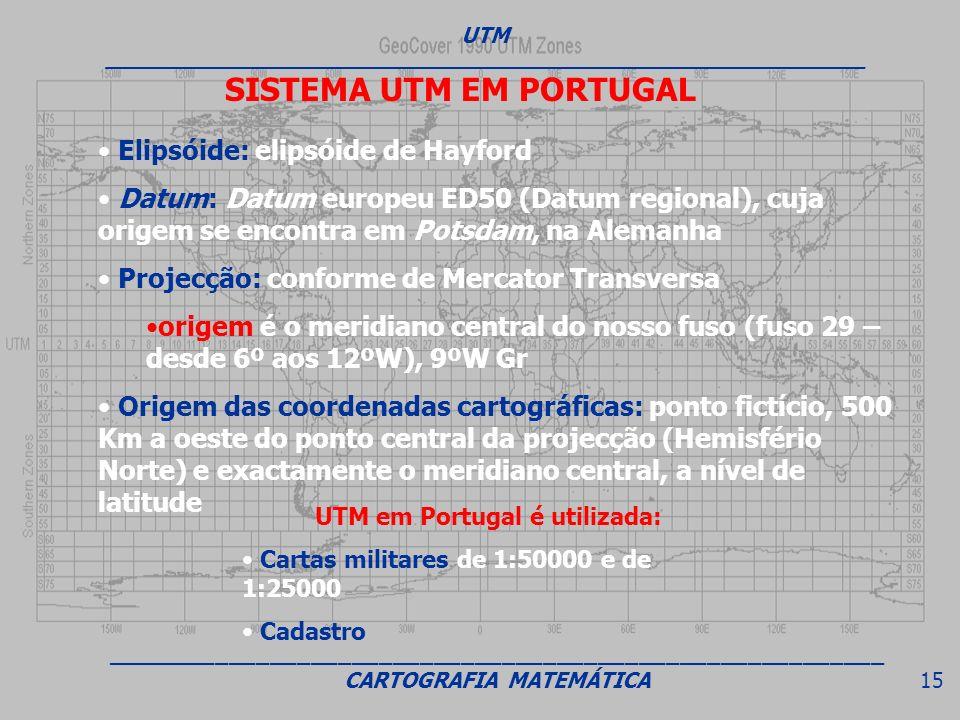 SISTEMA UTM EM PORTUGAL Elipsóide: elipsóide de Hayford Datum: Datum europeu ED50 (Datum regional), cuja origem se encontra em Potsdam, na Alemanha Pr