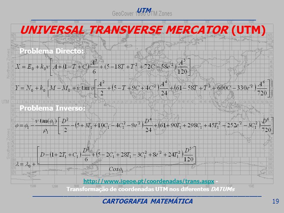 UNIVERSAL TRANSVERSE MERCATOR (UTM) Problema Inverso: Problema Directo: UTM ________________________________________________________________ _________