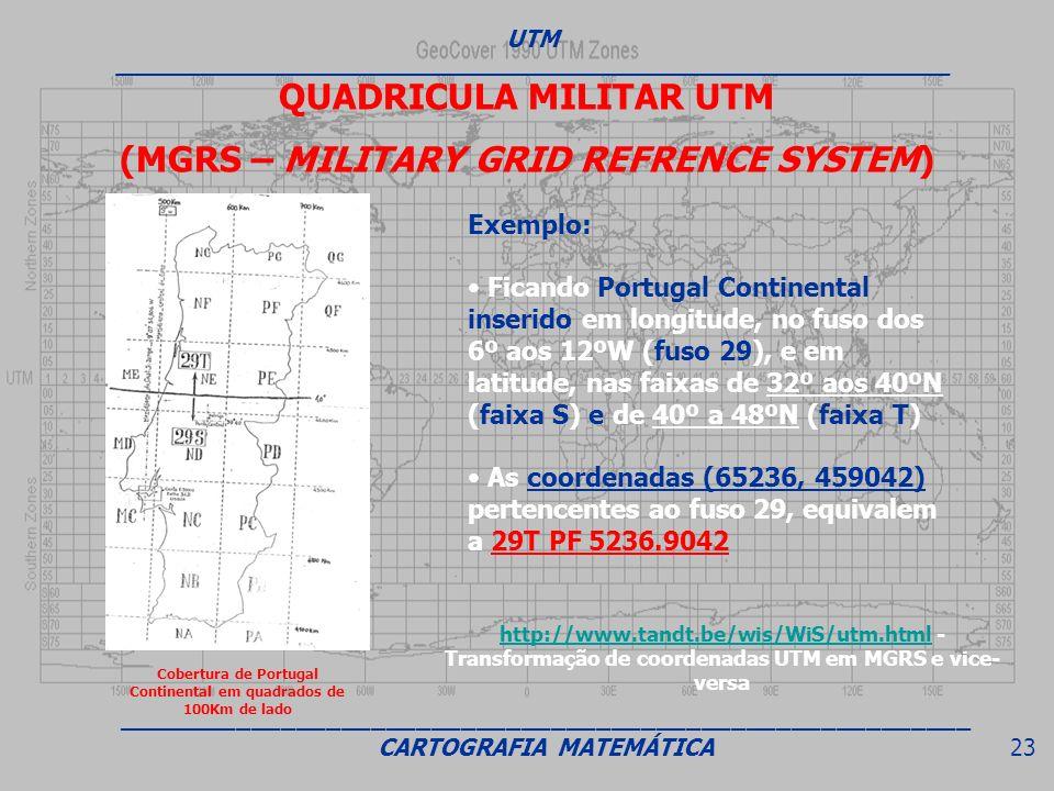 Exemplo: Ficando Portugal Continental inserido em longitude, no fuso dos 6º aos 12ºW (fuso 29), e em latitude, nas faixas de 32º aos 40ºN (faixa S) e