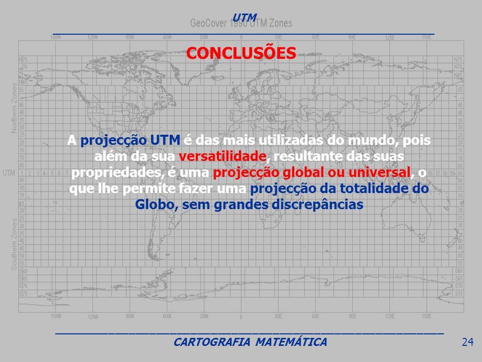 CONCLUSÕES A projecção UTM é das mais utilizadas do mundo, pois além da sua versatilidade, resultante das suas propriedades, é uma projecção global ou