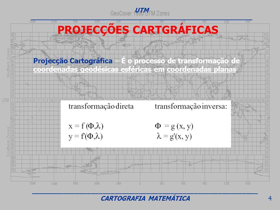 PROJECÇÕES CARTGRÁFICAS Projecção Cartográfica – É o processo de transformação de coordenadas geodésicas esféricas em coordenadas planas UTM _________