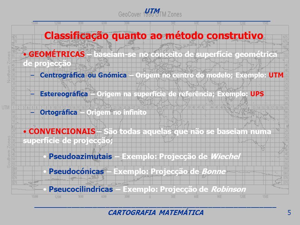 GEOMÉTRICAS – baseiam-se no conceito de superfície geométrica de projecção CONVENCIONAIS – São todas aquelas que não se baseiam numa superfície de pro