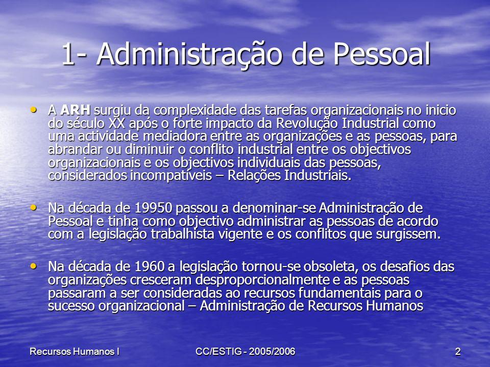 Recursos Humanos ICC/ESTIG - 2005/20062 1- Administração de Pessoal A ARH surgiu da complexidade das tarefas organizacionais no inicio do século XX ap
