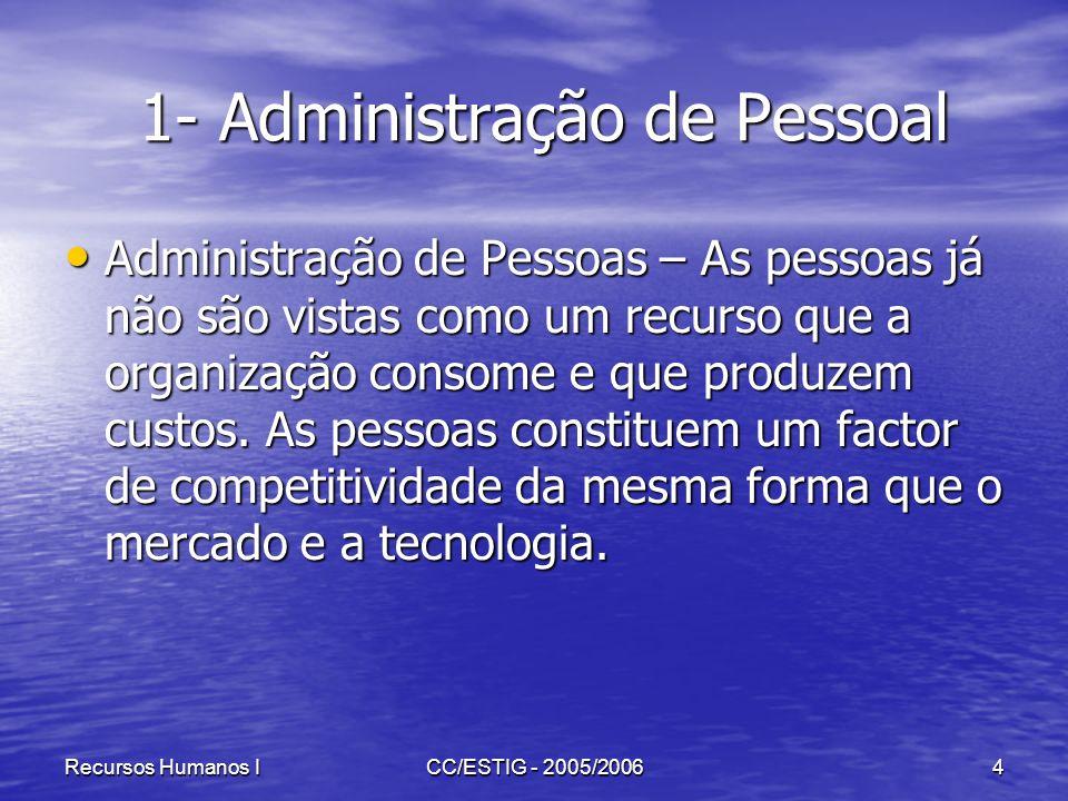 Recursos Humanos ICC/ESTIG - 2005/20064 1- Administração de Pessoal 1- Administração de Pessoal Administração de Pessoas – As pessoas já não são vista