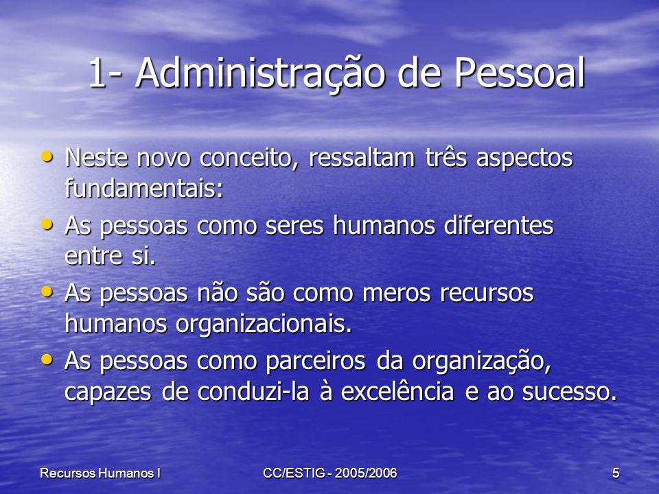Recursos Humanos ICC/ESTIG - 2005/20065 1- Administração de Pessoal 1- Administração de Pessoal Neste novo conceito, ressaltam três aspectos fundament