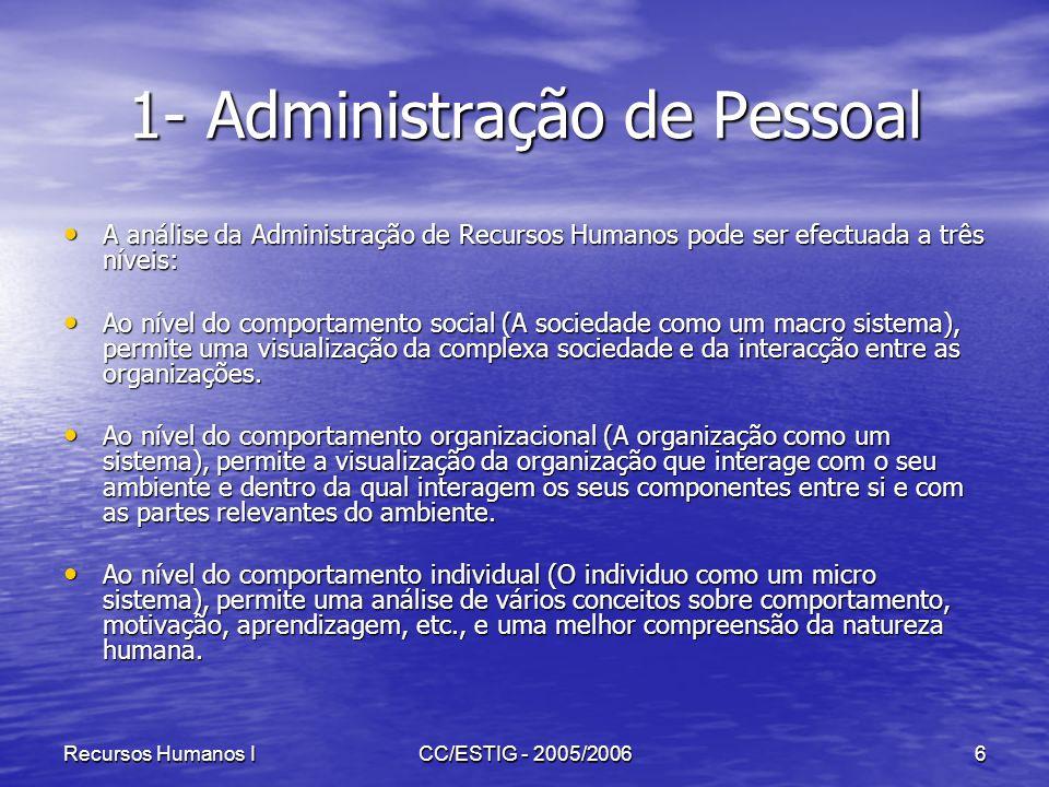 Recursos Humanos ICC/ESTIG - 2005/20066 1- Administração de Pessoal A análise da Administração de Recursos Humanos pode ser efectuada a três níveis: A