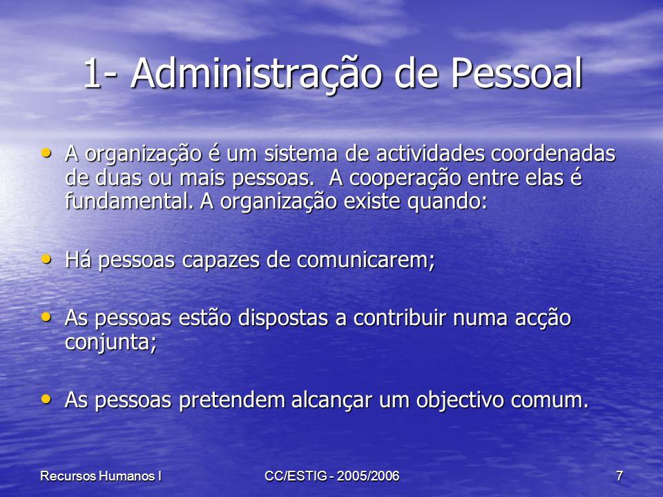 Recursos Humanos ICC/ESTIG - 2005/20067 1- Administração de Pessoal A organização é um sistema de actividades coordenadas de duas ou mais pessoas. A c