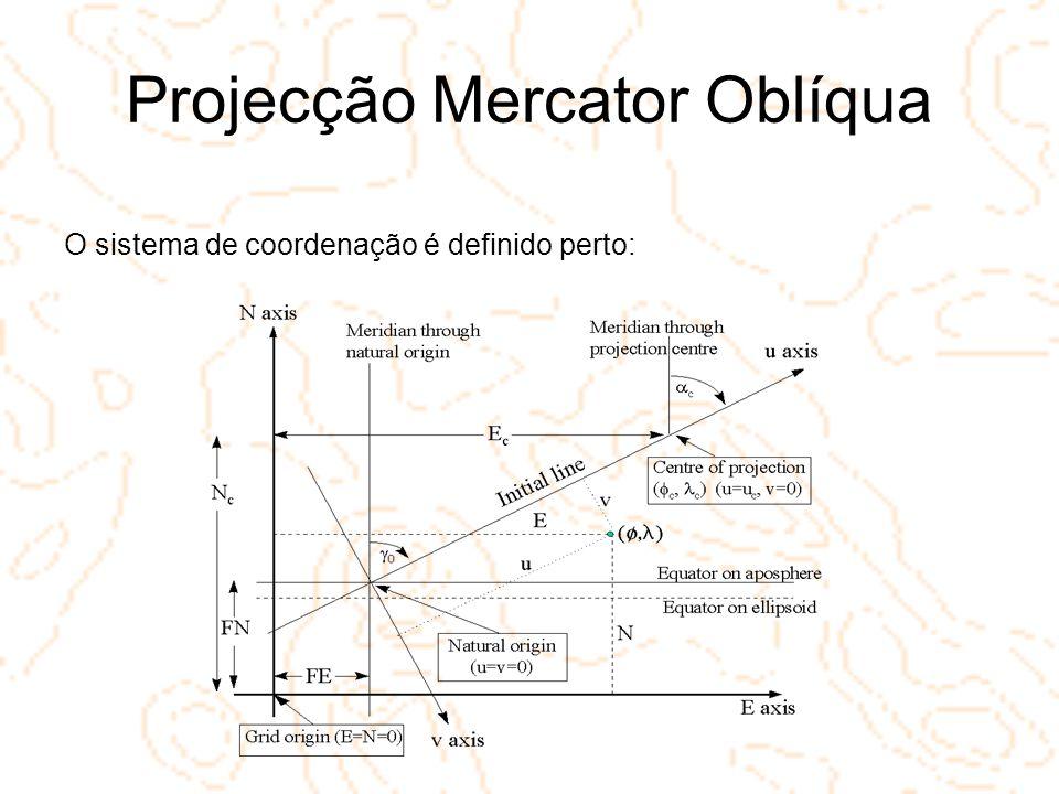 Projecção Mercator Oblíqua O sistema de coordenação é definido perto: