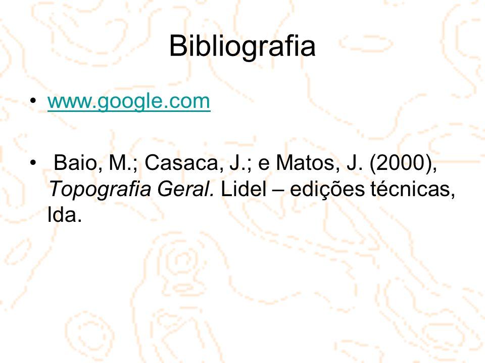 Bibliografia www.google.com Baio, M.; Casaca, J.; e Matos, J. (2000), Topografia Geral. Lidel – edições técnicas, lda.