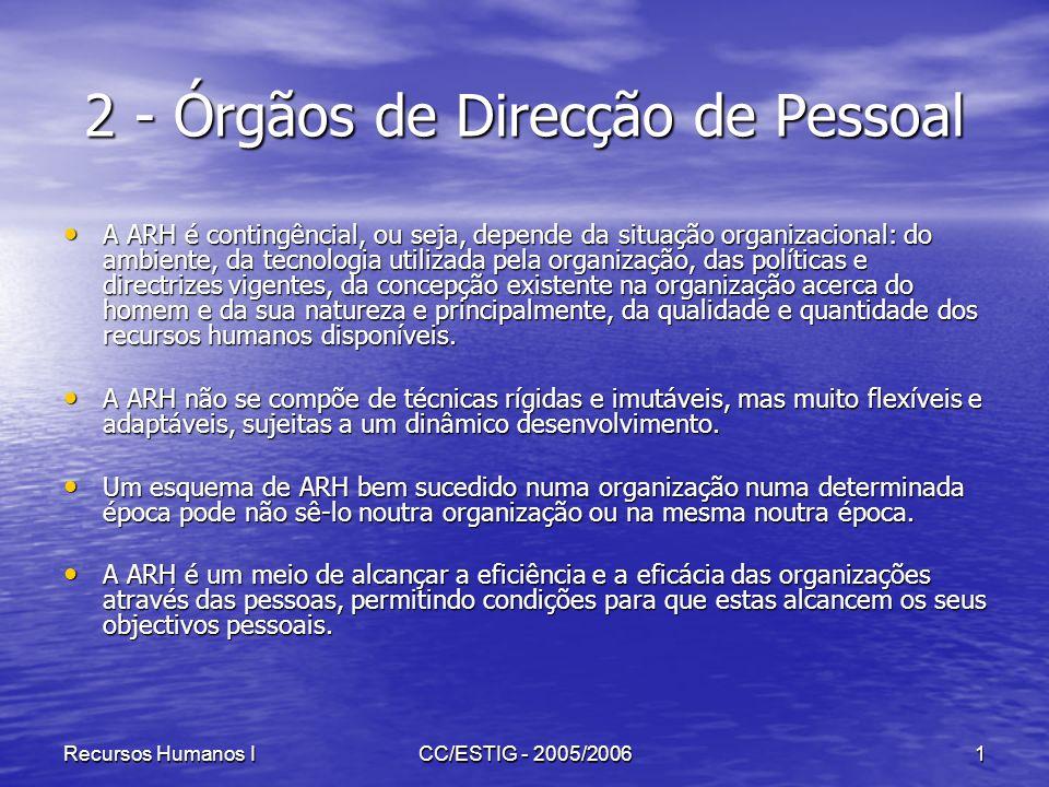 Recursos Humanos ICC/ESTIG - 2005/20061 2 - Órgãos de Direcção de Pessoal A ARH é contingêncial, ou seja, depende da situação organizacional: do ambie