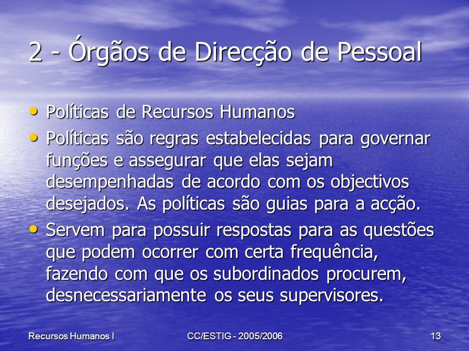Recursos Humanos ICC/ESTIG - 2005/200613 2 - Órgãos de Direcção de Pessoal Políticas de Recursos Humanos Políticas de Recursos Humanos Políticas são r