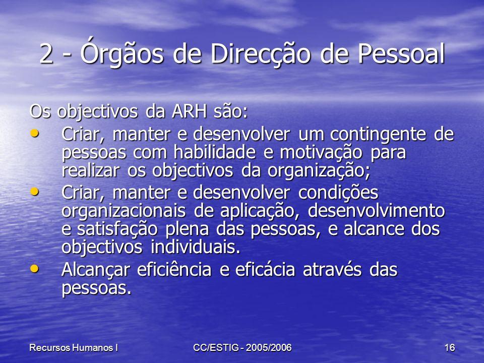 Recursos Humanos ICC/ESTIG - 2005/200616 2 - Órgãos de Direcção de Pessoal Os objectivos da ARH são: Criar, manter e desenvolver um contingente de pes