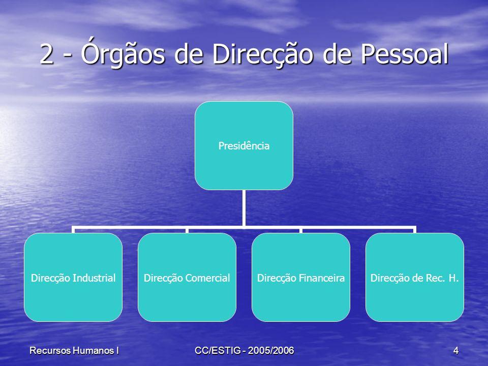 Recursos Humanos ICC/ESTIG - 2005/20064 2 - Órgãos de Direcção de Pessoal Presidência Direcção Industrial Direcção Comercial Direcção Financeira Direc