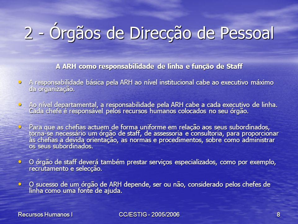 Recursos Humanos ICC/ESTIG - 2005/20068 2 - Órgãos de Direcção de Pessoal A ARH como responsabilidade de linha e função de Staff A responsabilidade bá
