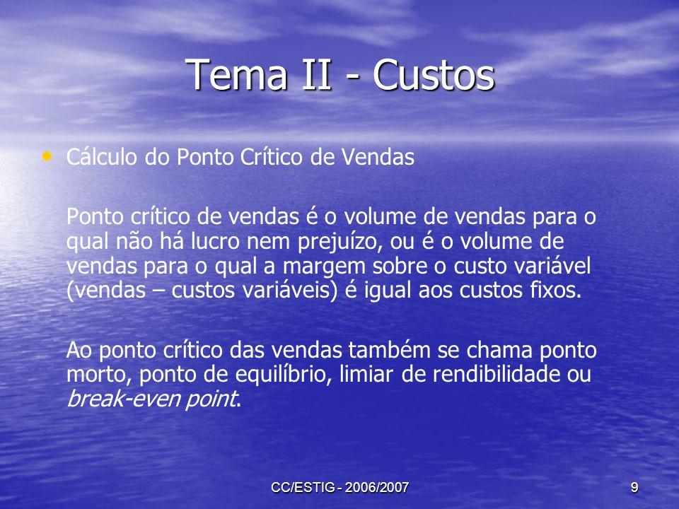 CC/ESTIG - 2006/20079 Tema II - Custos Cálculo do Ponto Crítico de Vendas Ponto crítico de vendas é o volume de vendas para o qual não há lucro nem pr