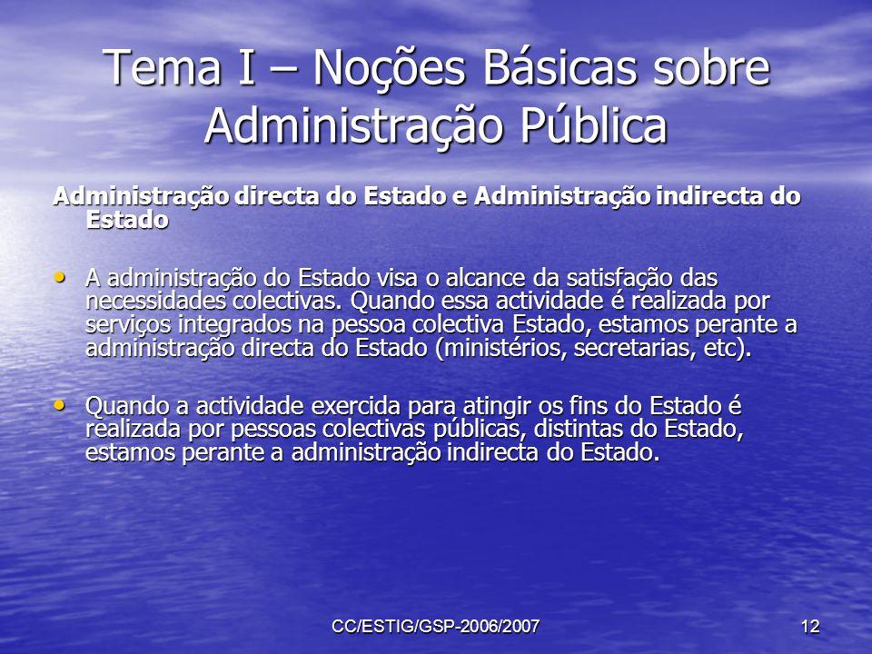 CC/ESTIG/GSP-2006/200712 Tema I – Noções Básicas sobre Administração Pública Administração directa do Estado e Administração indirecta do Estado A adm